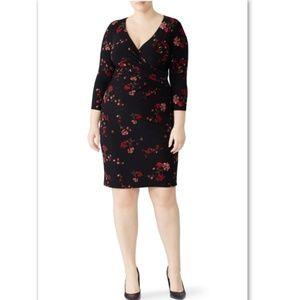 NWT Ralph Lauren Cleora Floral Black Dress Plus 16